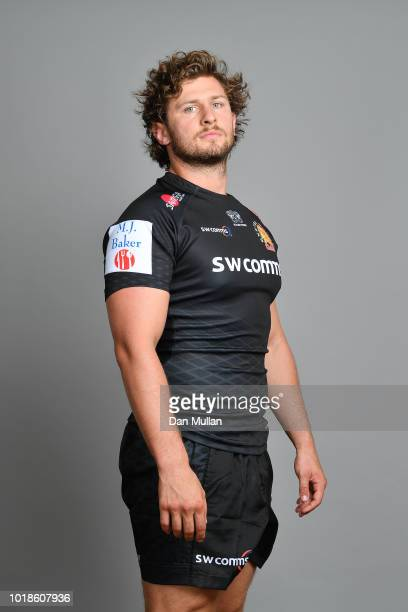 Alec Hepburn of Exeter Chiefs poses for a portrait during the Exeter Chiefs squad photo call for the 201819 Gallagher Premiership Rugby season at...