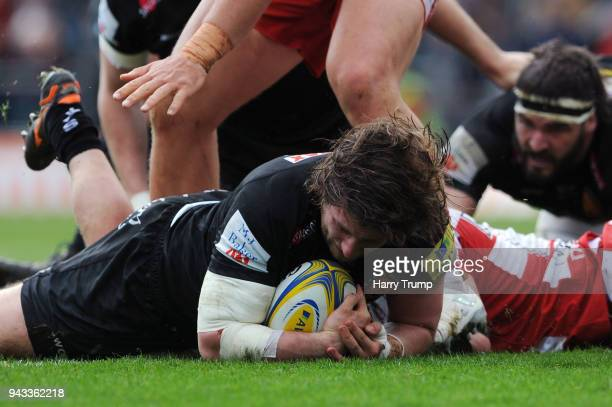 Alec Hepburn of Exeter Chiefs scores his teams first try during the Aviva Premiership match between Exeter Chiefs and Gloucester Rugby at Sandy Park...