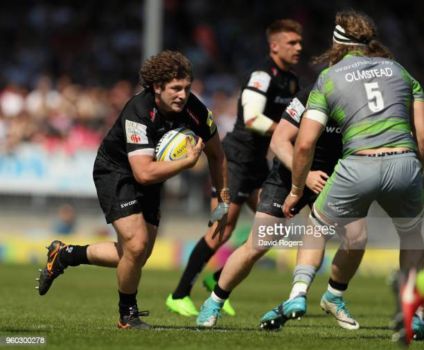 Alec Hepburn of Exeter runs with the ball during the Aviva Premiership Semi Final between Exeter Chiefs and Newcastle Falcons at Sandy Park on May 19...
