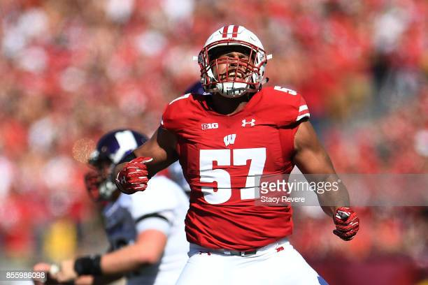 Alec James of the Wisconsin Badgers reacts to a sack during the third quarter of a game against the Northwestern Wildcats at Camp Randall Stadium on...