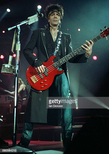 Alec John Such of Bon Jovi performing on stage at Wembley Arena London 14 May 1993