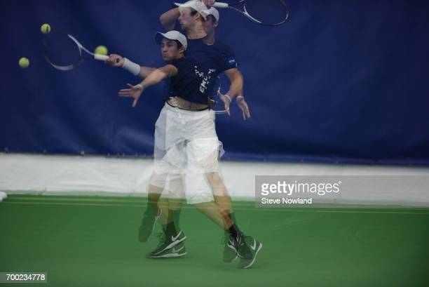Alec Josepher of Emory University returns a volley during the Division III Men's Tennis Championship held at Champions Tennis Club on May 24 2017 in...