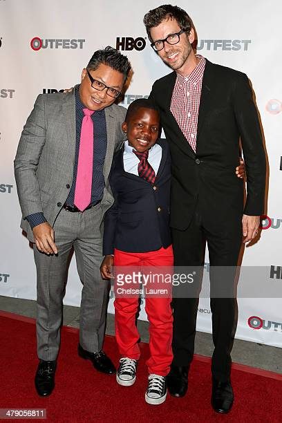 Alec Mapa and family, Zion Hebert-Mapa and Jamison Hebert arrive at the Outfest 2014 fusion LGBT People of Color film festival gala at the Egyptian...