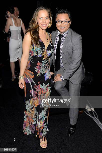 Alec Mapa poses with guest at the AMC Upfront 2013 at the 69th Regiment Armory on April 17 2013 in New York City