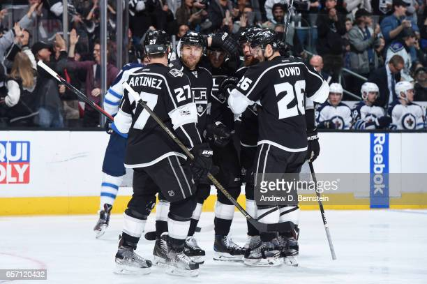 Alec Martinez Jarome Iginla Marian Gaborik Jake Muzzin and Nic Dowd of the Los Angeles Kings celebrate during a game against the Winnipeg Jets at...