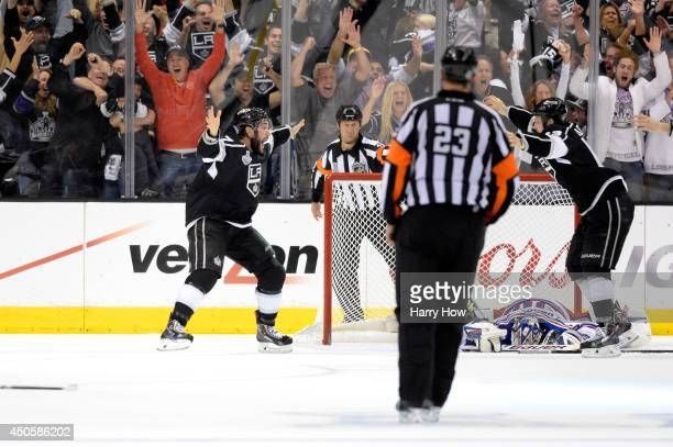 Alec Martinez of the Los Angeles Kings celebrates after scoring the game-winning goal in double overtime against the New York Rangers during Game...
