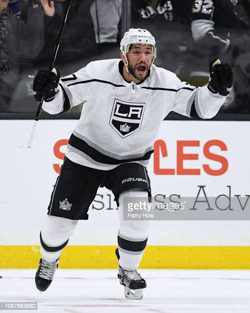 Alec Martinez of the Los Angeles Kings celebrates his goal to take a 1-0 lead over the Carolina Hurricanes during the third period at Staples Center...