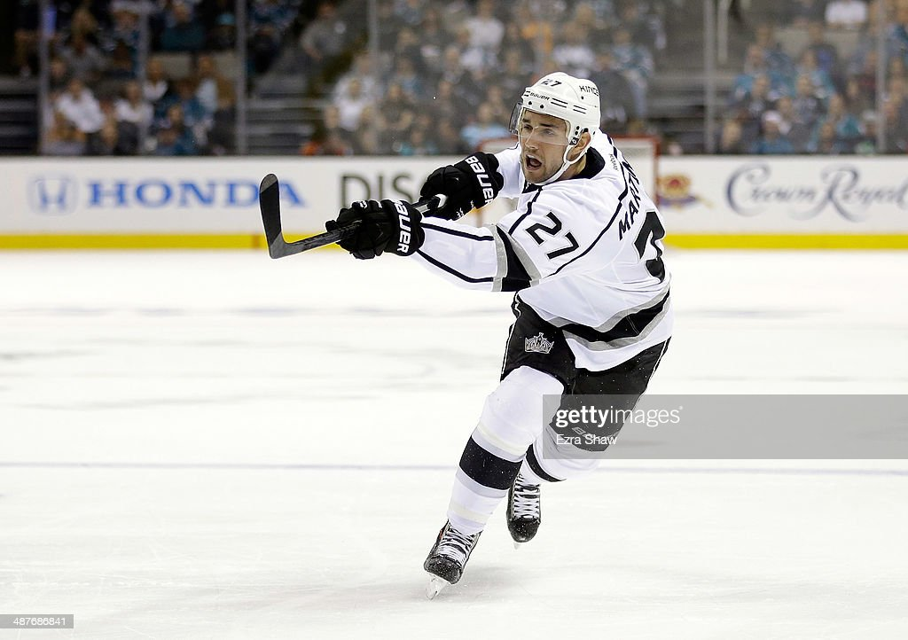 Alec Martinez #27 of the Los Angeles Kings in action against the San Jose Sharks in Game Two of the First Round of the 2014 NHL Stanley Cup Playoffs at SAP Center on April 20, 2014 in San Jose, California.