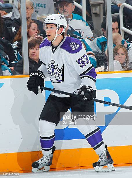 Alec Martinez of the Los Angeles Kings looks for a pass against the San Jose Sharks in Game One of the Western Conference Quarterfinals during the...