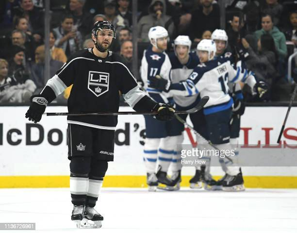 Alec Martinez of the Los Angeles Kings reacts after a goal from Tyler Myers of the Winnipeg Jets to trail 32 during the second period at Staples...