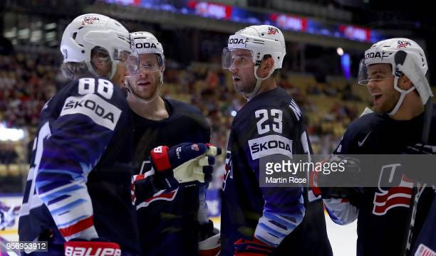 Alec Martinez of United States celebrate the 2nd goal with his team mates during the 2018 IIHF Ice Hockey World Championship Group B game between...