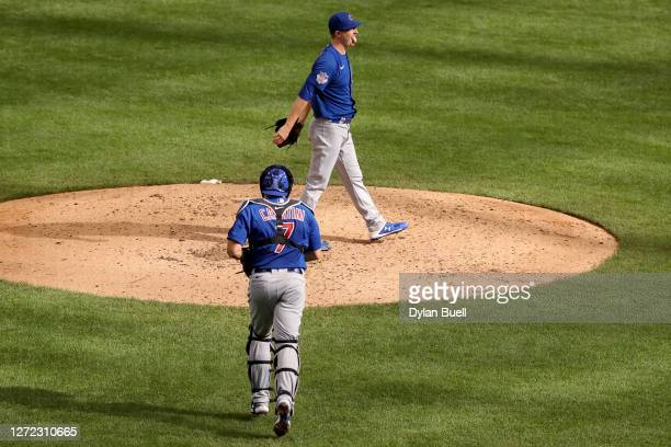 Alec Mills of the Chicago Cubs reacts after throwing a no-hitter to beat the Milwaukee Brewers 12-0 at Miller Park on September 13, 2020 in...