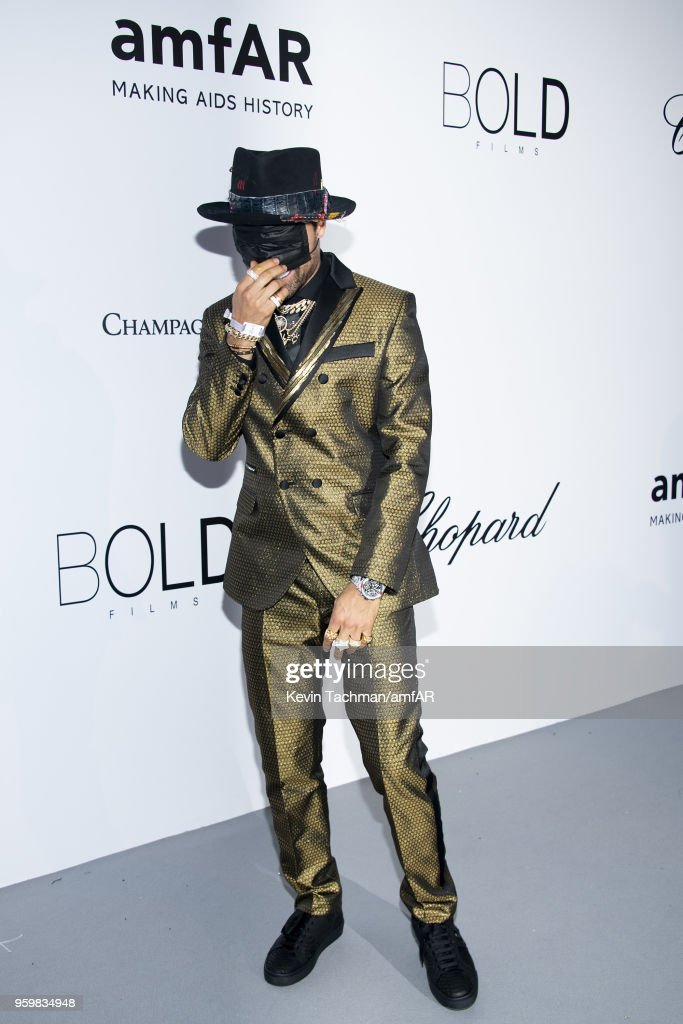Alec Monoply arrives at the amfAR Gala Cannes 2018 at Hotel du Cap-Eden-Roc on May 17, 2018 in Cap d'Antibes, France.