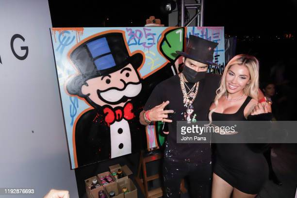 Alec Monopoly and Alexa Dellanos attend the We The Best Foundation And Haute Living Present The Nicole And Khaled Birthday Celebration With PLACESCO...