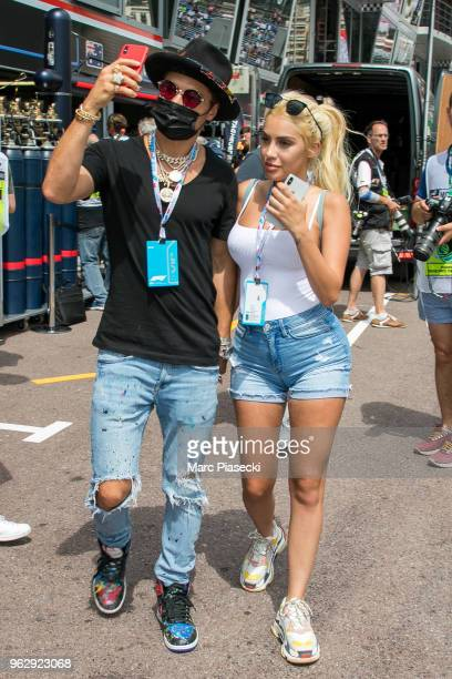 Alec Monopoly and guest are seen during the Monaco Formula One Grand Prix at Circuit de Monaco on May 27 2018 in MonteCarlo Monaco