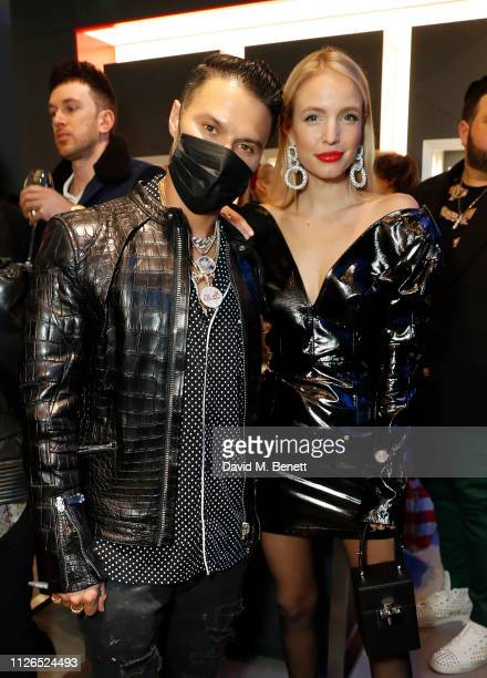 Alec Monopoly and Leonie Hanne attend TAG Heuer and art provocateur Alec Monopoly launch event celebrating special edition watches on January 31 2019...