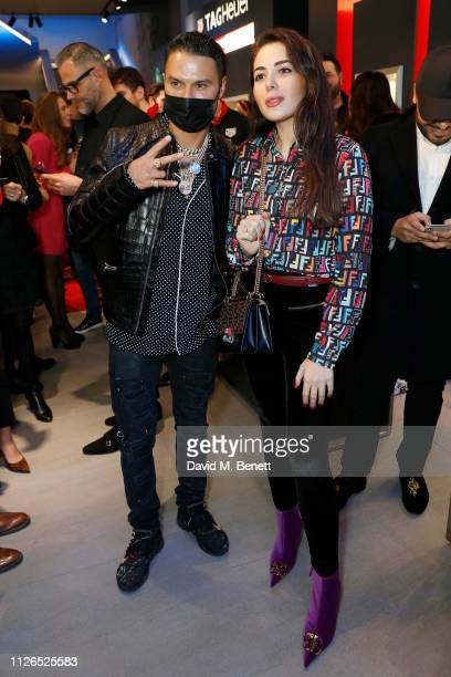 Alec Monopoly and Nurce Erben attend TAG Heuer and art provocateur Alec Monopoly launch event celebrating special edition watches on January 31 2019...