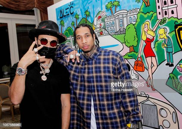 Alec Monopoly and Tyga attend the Alec Monopoly Beverly Hills Hotel Capsule Collection unveiling on November 4 2018 in Beverly Hills California