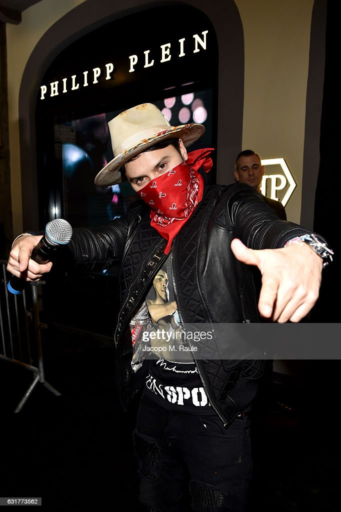 Alec Monopoly attends Philipp Plein Boutique Opening during Milan Men's Fashion Week Fall/Winter 2017/18 on January 15, 2017 in Milan, Italy.