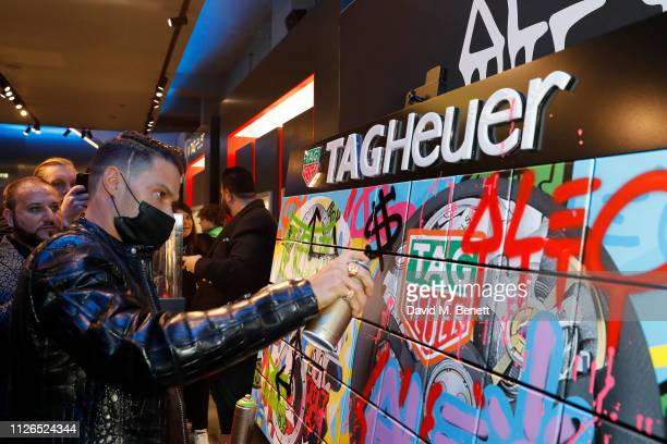 Alec Monopoly attends TAG Heuer and art provocateur Alec Monopoly launch event celebrating special edition watches on January 31 2019 in London...