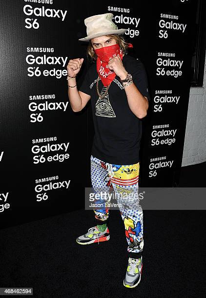 Alec Monopoly attends the Samsung launch of the Galaxy S 6 and Galaxy S 6 Edge at Quixote Studios on April 2 2015 in Los Angeles California
