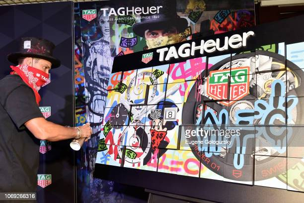 Alec Monopoly attends the TAG Heuer celebration of Art Basel Miami 2018 with the launch of Alec Monopoly's special edition timepieces on December 6...