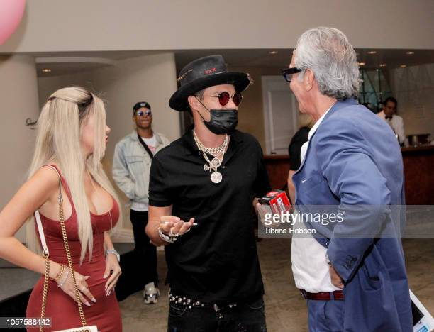 Alec Monopoly Edward Mady and Alexa Dellanos arrive to the Alec Monopoly Beverly Hills Hotel Capsule Collection unveiling on November 4 2018 in...