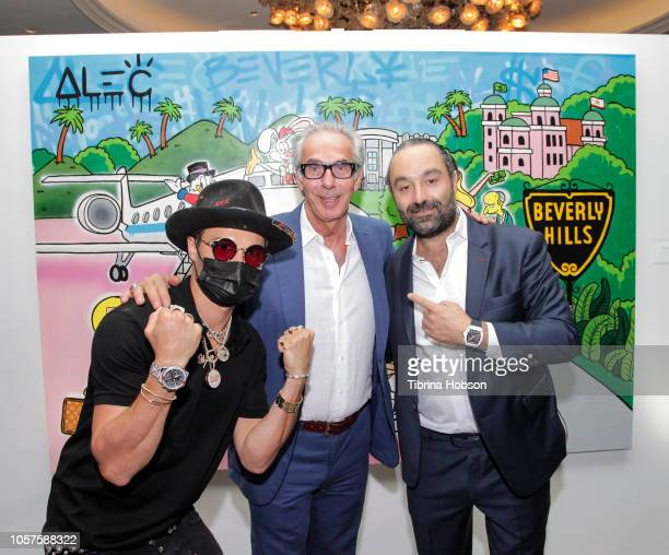 R Alec Monopoly Edward Mady and Avery Andon attend the Alec Monopoly Beverly Hills Hotel Capsule Collection unveiling on November 4 2018 in Beverly...