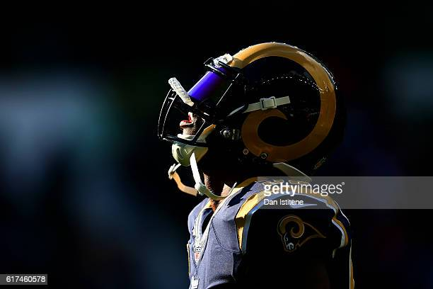 Alec Ogletree of the Los Angeles Rams looks turnover the sky before the NFL International series game between Los Angeles Rams and New York Giants at...