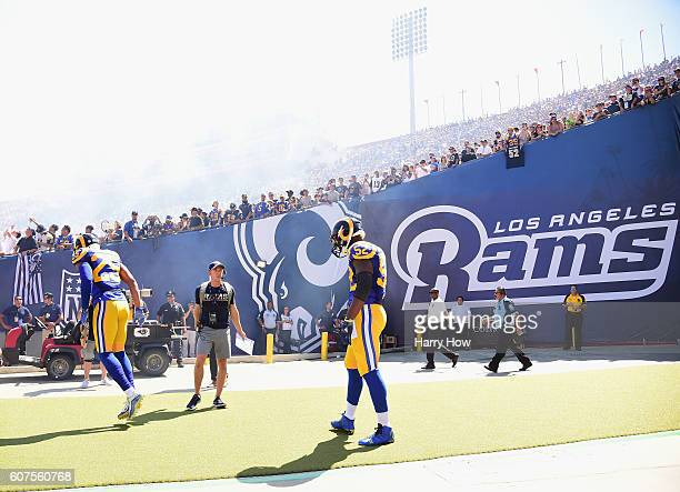 Alec Ogletree of the Los Angeles Rams prepares to take the field for the home opening NFL game against the Seattle Seahawks at Los Angeles Coliseum...