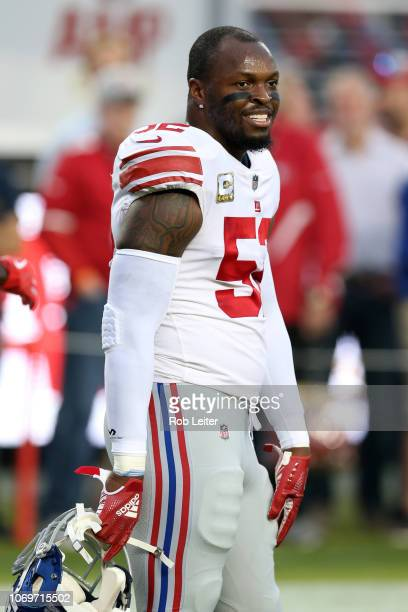 Alec Ogletree of the New York Giants looks on before the game against the San Francisco 49ers at Levi Stadium on November 11 2018 in Santa Clara CA...