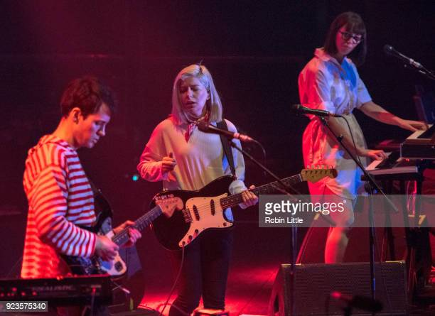 Alec O'Hanley Molly Rankin and Kerri MacLellan of Alvvays perform at The Roundhouse on February 23 2018 in London England