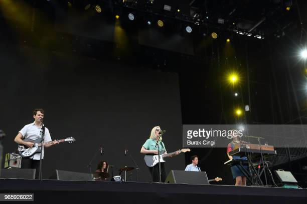 Alec O'Hanley Molly Rankin Brian Murphy and Kelly MacLellan of Alvvays perform on day 1 of the Governors Ball Music Festival 2018 at Randall's Island...