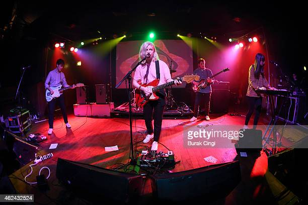 Alec O'Hanley Molly Rankin Brian Murphy and Kerri MacLellan of Alvvays perform on stage at Scala on January 28 2015 in London United Kingdom