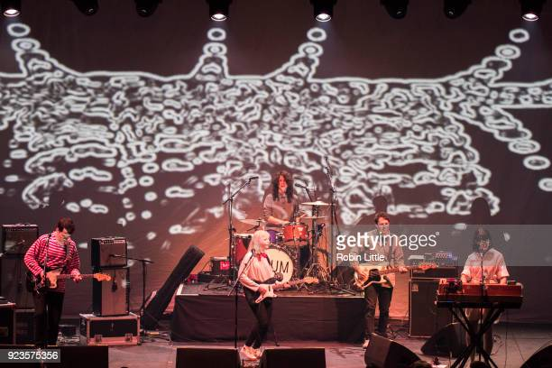Alec O'Hanley Molly Rankin Sheridan Riley Brian Murphy and Kerri MacLellan of Alvvays perform at The Roundhouse on February 23 2018 in London England