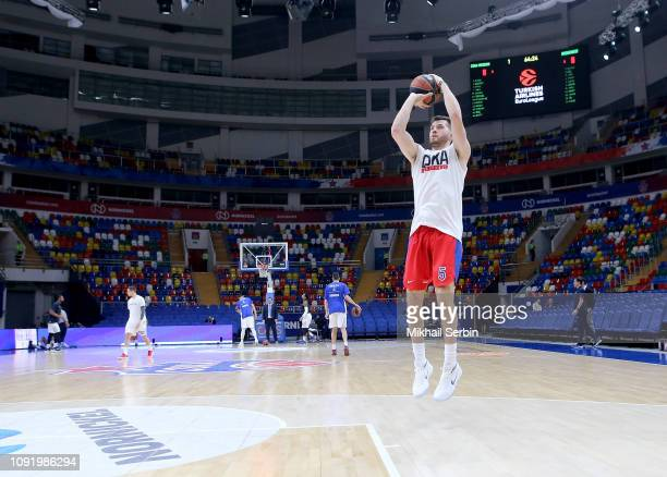 Alec Peters #5 of CSKA Moscow before during the 2018/2019 Turkish Airlines EuroLeague Regular Season Round 21 game between CSKA Moscow and Buducnost...