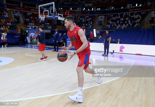 Alec Peters #5 of CSKA Moscow before the 2018/2019 Turkish Airlines EuroLeague Regular Season Round 25 game between CSKA Moscow and AX Armani...