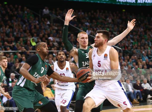 Alec Peters #5 of CSKA Moscow competes with Aaron White #30 of Zalgiris Kaunas in action during the 2018/2019 Turkish Airlines EuroLeague Regular...