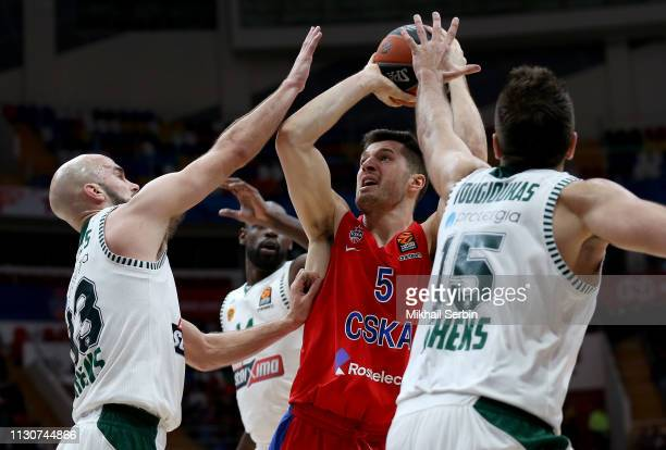Alec Peters #5 of CSKA Moscow competes with in action during the 2018/2019 Turkish Airlines EuroLeague Regular Season Round 26 game between CSKA...