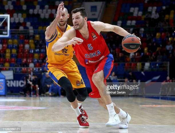 Alec Peters #5 of CSKA Moscow competes with Kim Tillie #41 of Herbalife Gran Canaria in action during the 2018/2019 Turkish Airlines EuroLeague...