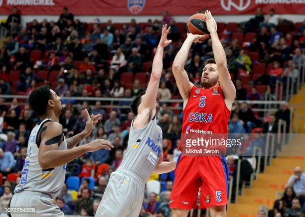 Alec Peters #5 of CSKA Moscow competes with Stefan Markovic #9 of Khimki Moscow Region in action during the 2018/2019 Turkish Airlines EuroLeague...