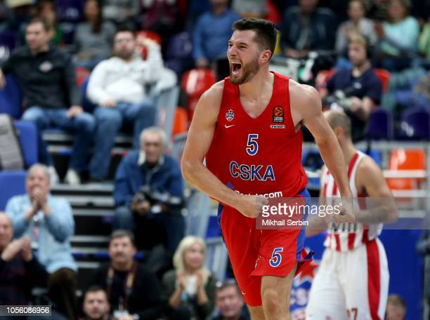 Alec Peters #5 of CSKA Moscow in action during the 2018/2019 Turkish Airlines EuroLeague Regular Season Round 5 game between CSKA Moscow and...