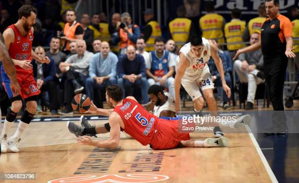 Alec Peters #5 of CSKA Moscow in action during the 2018/2019 Turkish Airlines EuroLeague Regular Season Round 9 game between Buducnost Voli Podgorica...