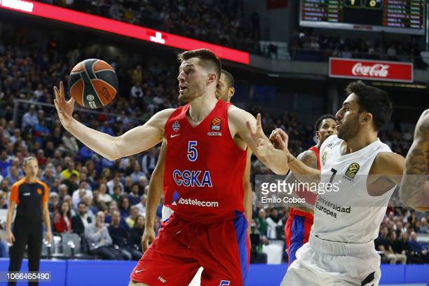 Alec Peters #5 of CSKA Moscow in action during the 2018/2019 Turkish Airlines EuroLeague Regular Season Round 10 game between Real Madrid and CSKA...