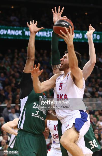 Alec Peters #5 of CSKA Moscow in action during the 2018/2019 Turkish Airlines EuroLeague Regular Season Round 16 game between Zalgiris Kaunas and...