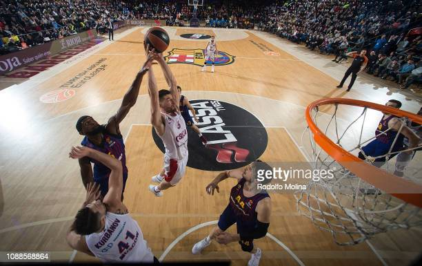 Alec Peters #5 of CSKA Moscow in action during the 2018/2019 Turkish Airlines EuroLeague Regular Season Round 20 game between FC Barcelona Lassa and...