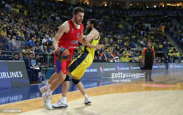 Alec Peters #5 of CSKA Moscow in action with Luigi Datome #70 of Fenerbahce BEKO during the 2018/2019 Turkish Airlines EuroLeague Regular Season...
