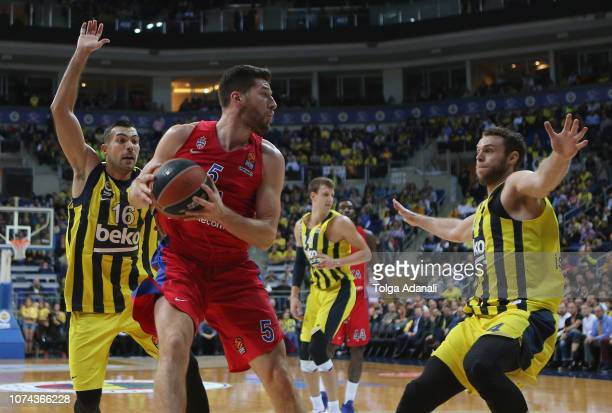 Alec Peters #5 of CSKA Moscow in action with Nicolo Melli #4 and Kostas Sloukas #16 of Fenerbahce BEKOduring the 2018/2019 Turkish Airlines...