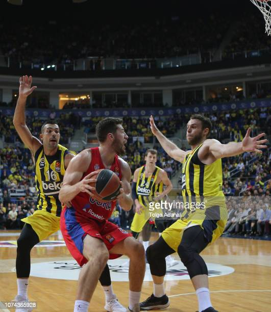 Alec Peters #5 of CSKA Moscow in action with Nicolo Melli #4 of Fenerbahce BEKO during the 2018/2019 Turkish Airlines EuroLeague Regular Season Round...