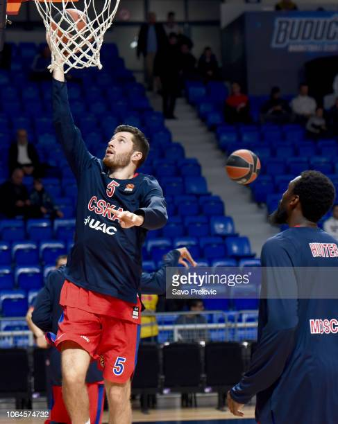 Alec Peters #5 of CSKA Moscow warm up during the 2018/2019 Turkish Airlines EuroLeague Regular Season Round 9 game between Buducnost Voli Podgorica...